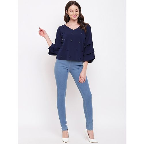 Mayra pearl embellished bell sleeved top