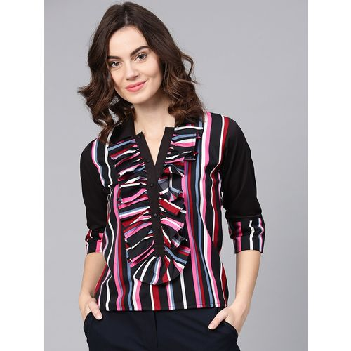 Aasi - House Of Nayo button detail striped ruffle top