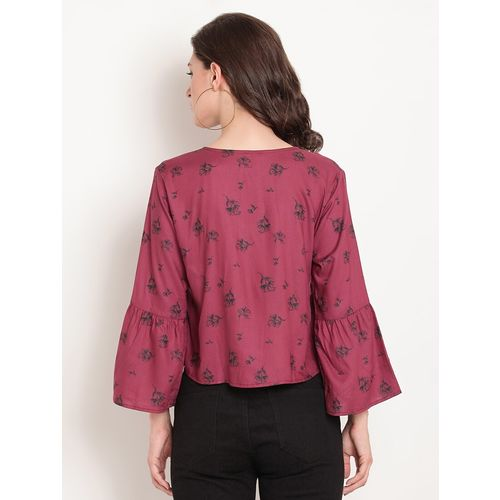 TAG 7 button up floral gathered top