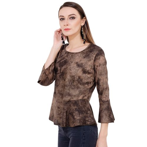 Sei Bello flute sleeved tie and dye peplum top