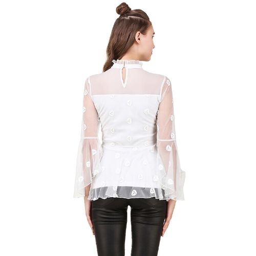 texco frill detailed embroidered top