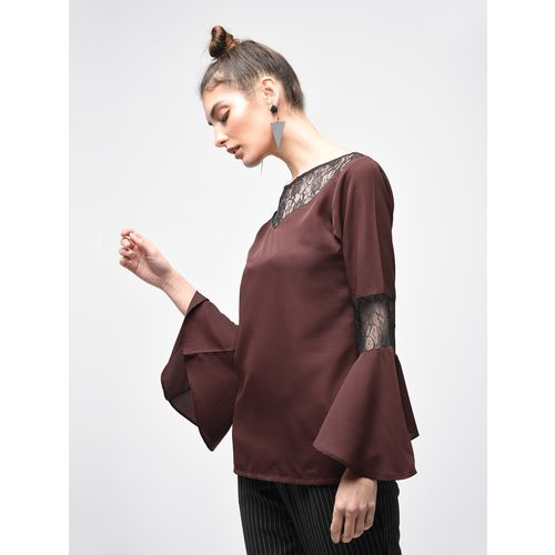 XQUISITE laced panel bell sleeved top