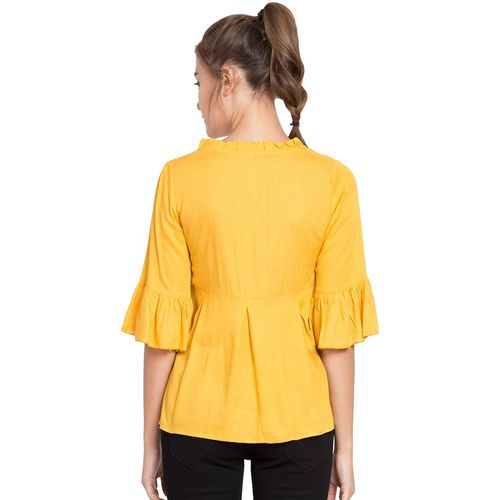 DELUX LOOK bell sleeved solid top