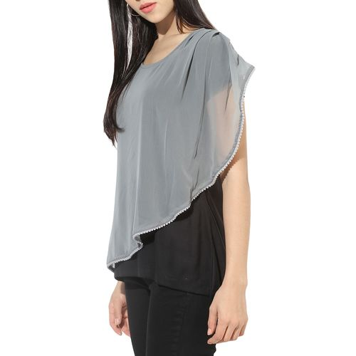 Wabii black viscose layered top