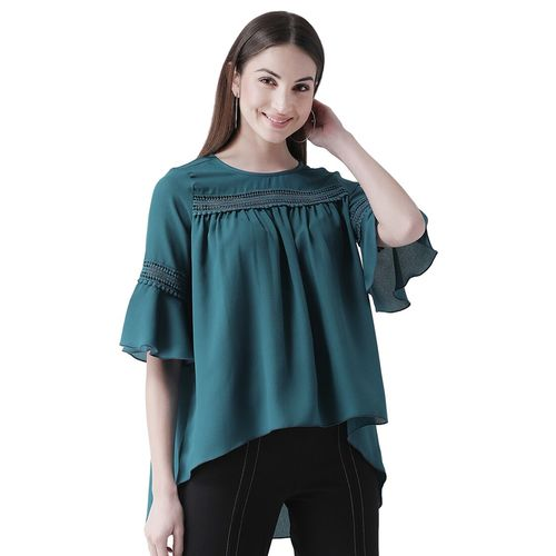 texco tie front lace detail top