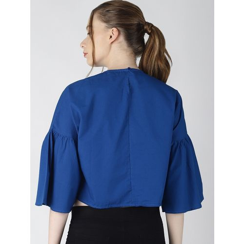 Blue Saint crew neck bell sleeved crop top