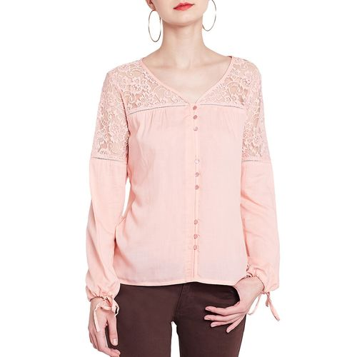 RARE pink solid laced top