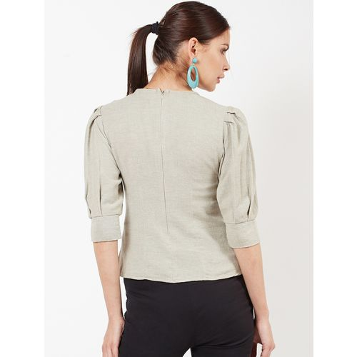 oxolloxo pleated sleeved crew neck top