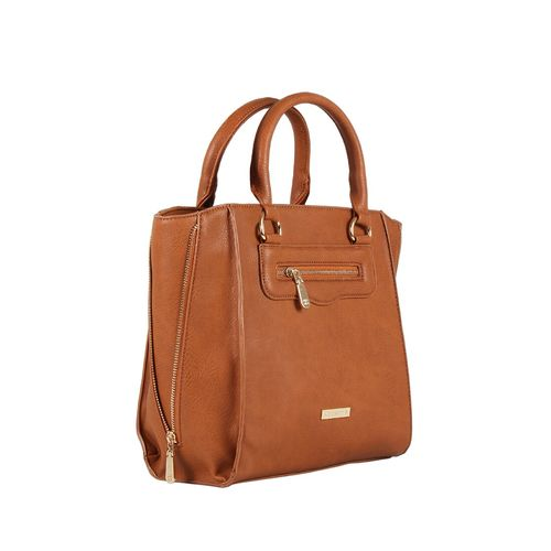 Addons tan leatherette regular handbag