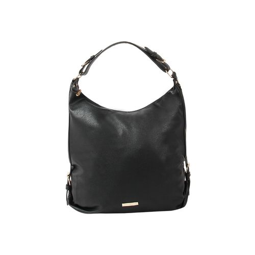 Addons black leatherette (pu) regular handbag