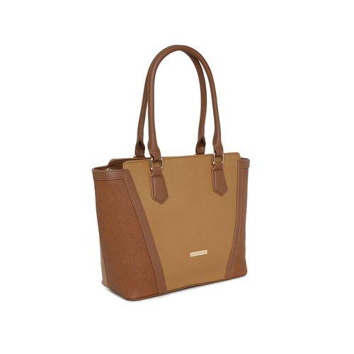 Addons brown leatherette (pu) regular handbag