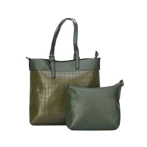 Fiona Trends green leatherette regular handbag