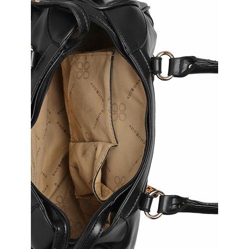 Addons black leatherette (pu) duffel handbag