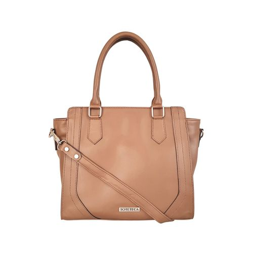 Toteteca brown leatherette (pu) regular handbag