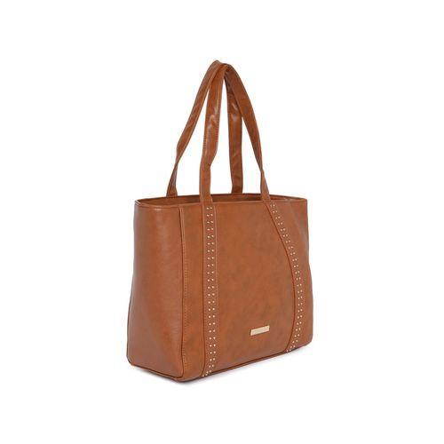 Addons tan leatherette (pu) regular handbag