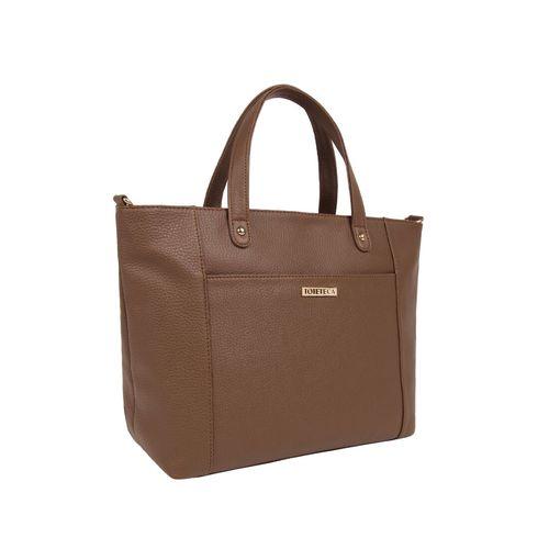 Toteteca brown leatherette (pu) regular handbag
