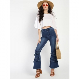 LA INDIGO frayed detail boot cut jeans