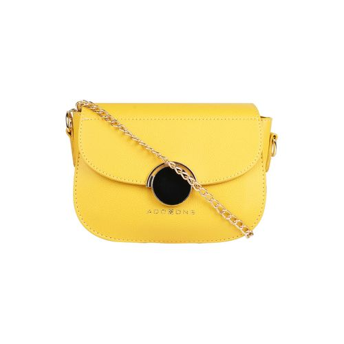 Addons yellow leatherette (pu) regular sling bag