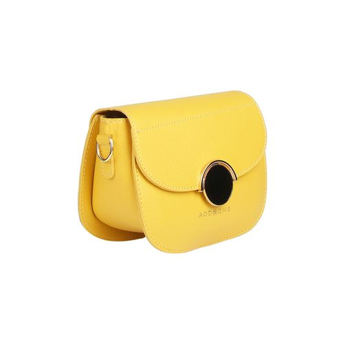 Addons yellow leatherette (pu) regular sling bag