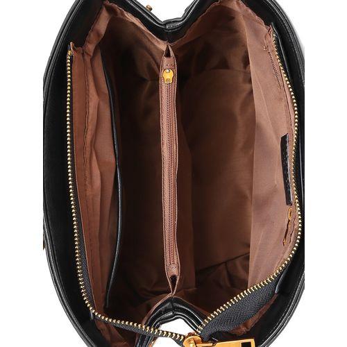 Viyomi black leatherette (pu) regular sling bag