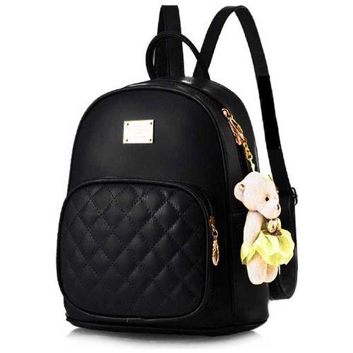 Raez Black PU Backpack by RAEZ MART