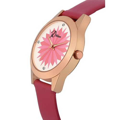 d'milano women candy pink analog watch