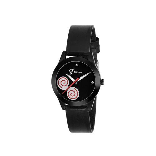 d'milano women eligent black analog watch