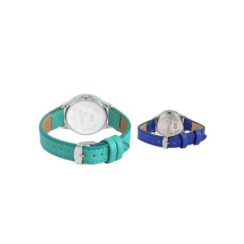 eraa green & blue wrist watch combo for women