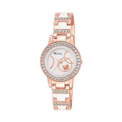 roman star rs_1158 rose gold coloured with rose gold stainless steel strap quartz watch for women