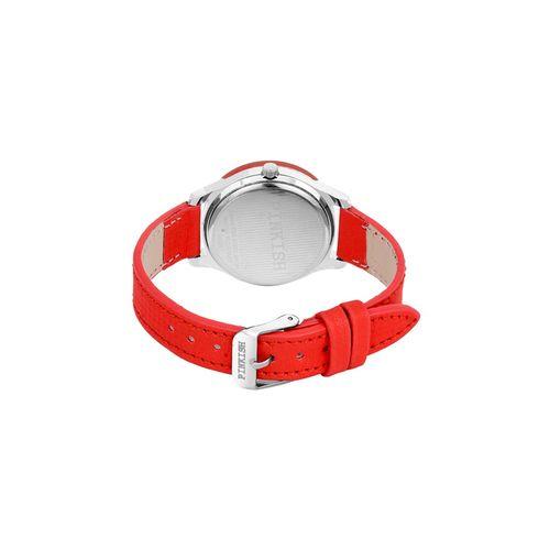 pinkish round dial analog watch pw-004