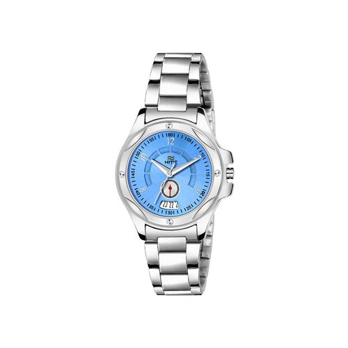 hemt date and day dial blue analogue watches for women-hm-lr246blu-slv-ch
