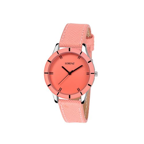 lorenz peach colour round dial analog watch for women's & girls