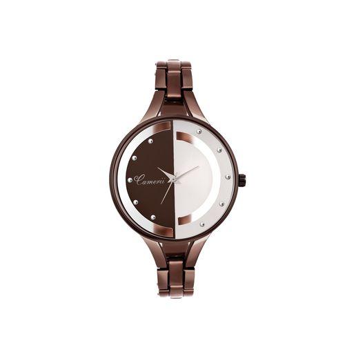 camerii elegance coffee brown dail wrist watch for women cwl1006