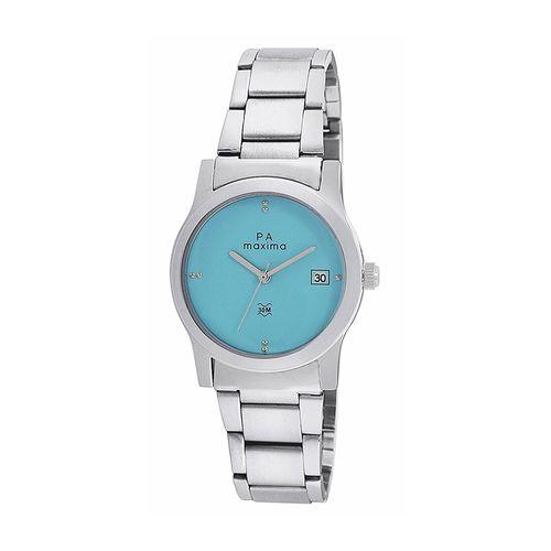 maxima blue dial watch for women - o-46760cmli