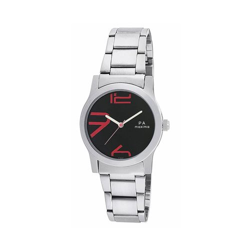 maxima black dial watch for women - o-46667cmli
