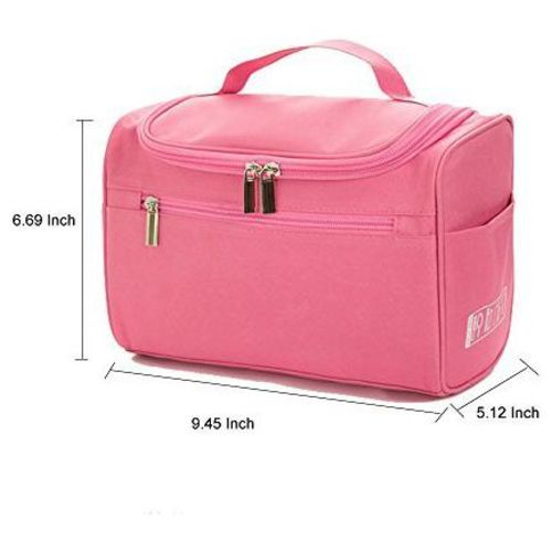 Swadec Women Travel Makeup Bag Multifunction Cosmetic Bags Polyester Fashion Waterproof Storage Toiletry Bag Organizer (Pink) by Swadec