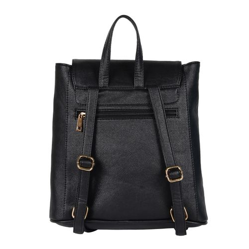 lychee bags black leatherette backpack