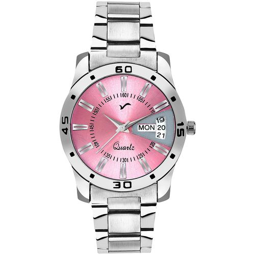 WRIGHTRACK Analogue Pink Dial Stainless Steel Day & Date Women's and Girl's Watch(WTSM81) by Watch Material Corporation