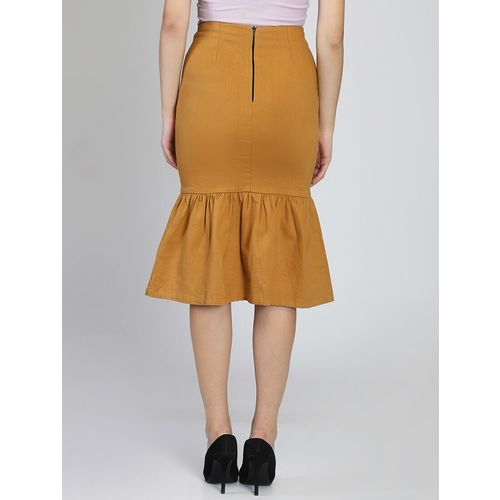 LA LOFT high rise button detail peplum skirt