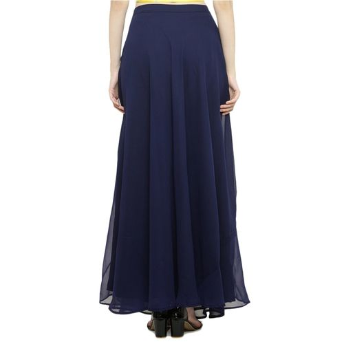 just wow navy blue georgette flared skirts