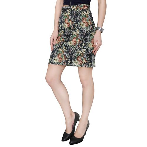 Ashtag multicolored floral printed pencil skirt