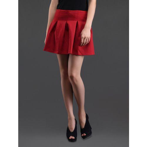 N-Gal box pleat red cotton mini skirt