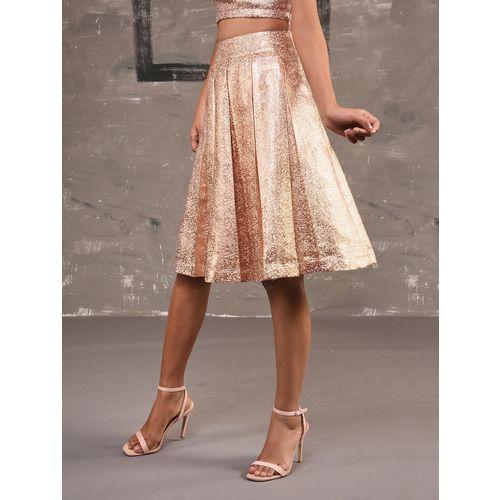 Primrose metallic pleated flared skirt