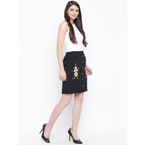 Dodo & Moa high rise embroidered a-line skirt