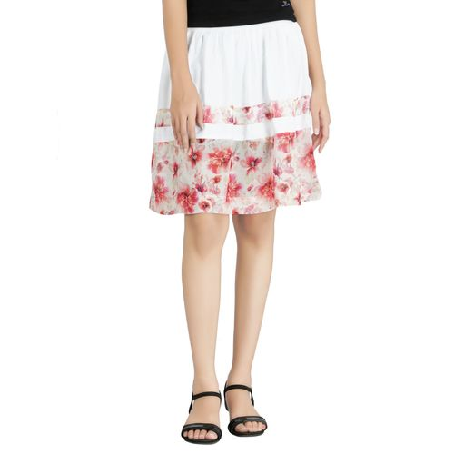 Goswankyy white floral printed crepe pleated skirt