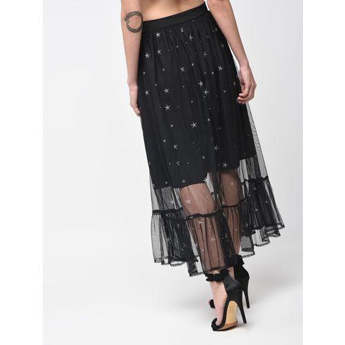 wild U overlay mesh star print flared skirt