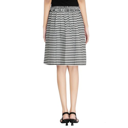 Goswankyy black striped cotton pleated skirt