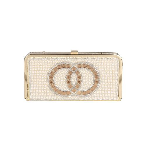 NIMMO gold leatherette box clutch