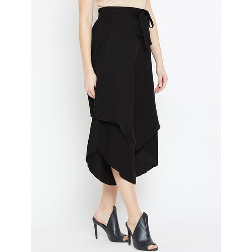 Bitterlime layered tie front flared culottes