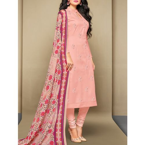 Mf Next pink embroidered unstitched churidaar suit